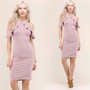 "Dresses & Skirts - ""Carrie"" ll Dusty Mauve Cold-Shoulder Ruffle Dress"