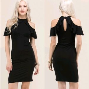 "Dresses & Skirts - ""Carrie"" ll Black Cold-Shoulder Ruffle Dress 💕"