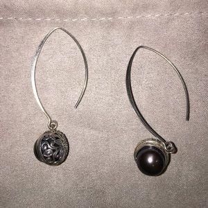 Sterling,pearl earrings