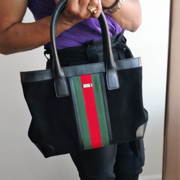 ba515cbf4 Gucci Bags   Vintage Sherry Stripe Black Suede Tote Handbag   Poshmark