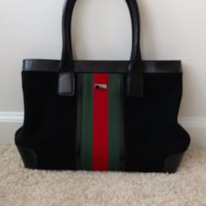 afbef895f Gucci Bags | Vintage Sherry Stripe Black Suede Tote Handbag | Poshmark