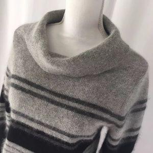 Gray Striped Cowl Neck Angora Lambswool Sweater