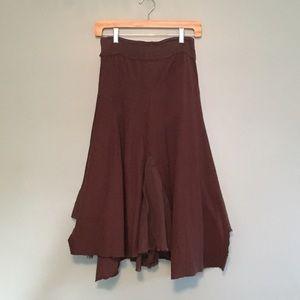 Xhilaration Brown Sharkbite Hem Skirt GUC