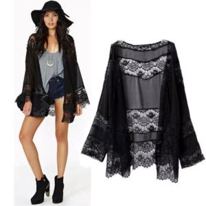 2 LEFT Sexy Black Lace Boho Cardigan Beach Kimono