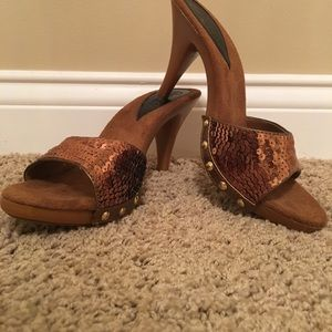 Candies Brown sequin heel sandals
