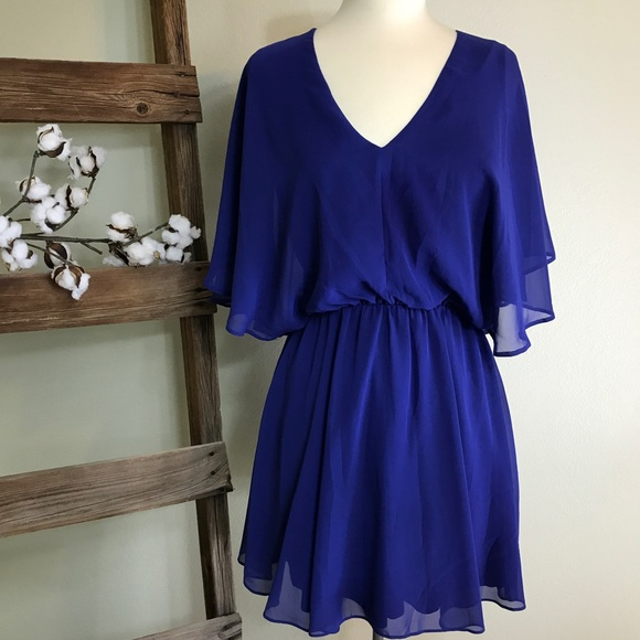 Royal Blue Flutter Sleeve Dress