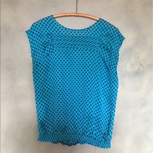 Tops - The Limited turquoise polkadot top