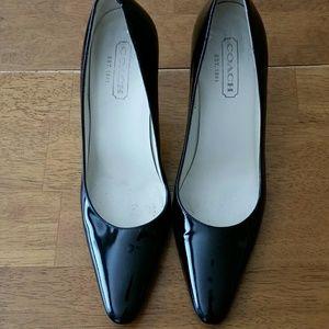 "COACH ""Misty"" black, patent leather, 3"" heels"