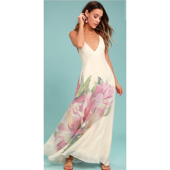 c2e66b29dbf ZEN GARDEN CREAM FLORAL PRINT MAXI DRESS