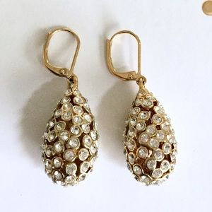 Crystal & Gold Dangle Drop Earrings