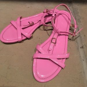 J. Crew 8 Pink Patent Leather Strap flat sandals