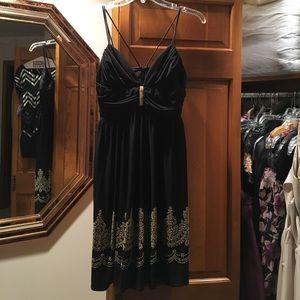CACHE BLACK & GOLD COCKTAIL DRESS SIZE 4