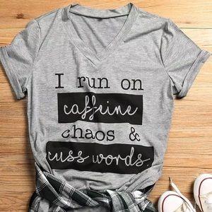 V-Neck Tee Caffeine & Cuss Words Graphic T-Shirt