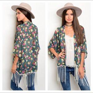 Sweaters - NWT green floral kimono