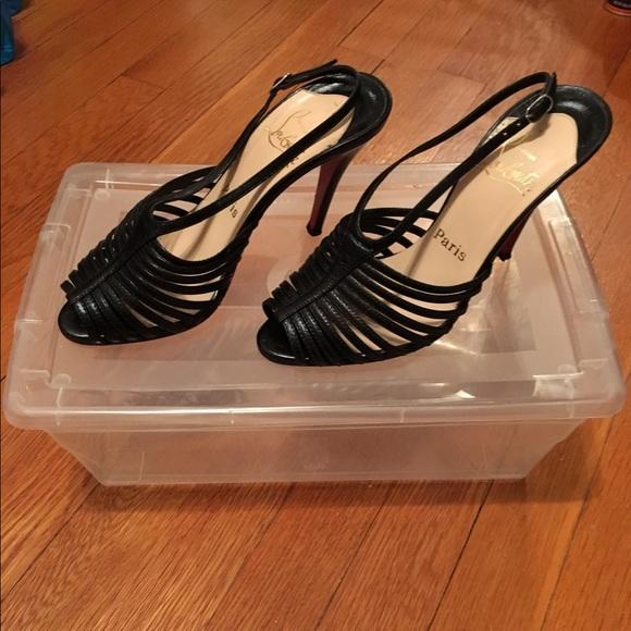 dbcf8afad3f {Christian Louboutin} black strappy heels 36.5 6