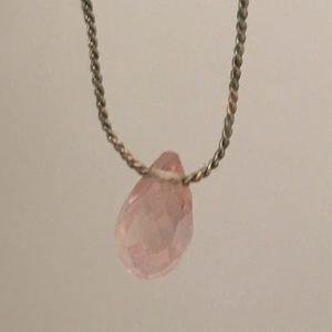 Jewelry - Light pastel Pink crystal teardrop gold necklace