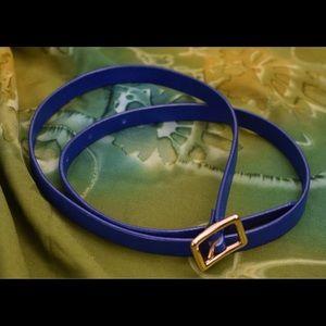 J Crew genuine leather blue skinny belt sz S
