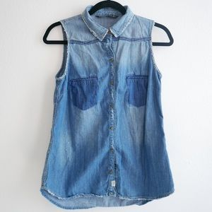 Zara denim chambray tank top