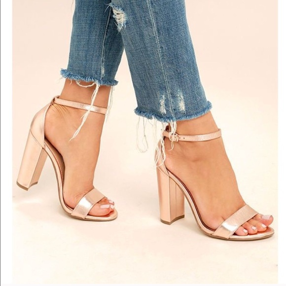 bbc342c6508 Steve Madden carrson metallic gold chunky heels