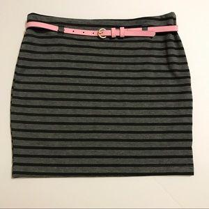 Monteau Skirts - MONTEAU Gray & Black stripped pencil mini [SK-30]