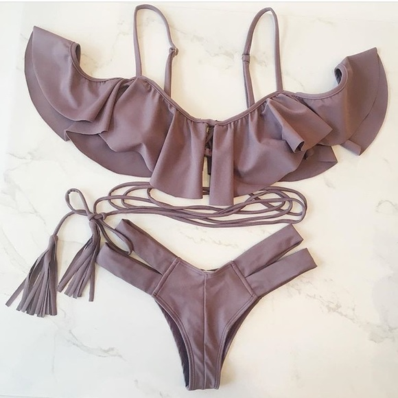 Other - Purple off the shoulder ruffle swim suit