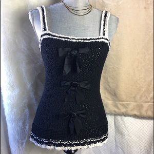 Marc jacobs knit tank crochet top with ribbons