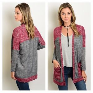 Sweaters - NEW small wine & charcoal open knit cardigan