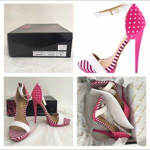 Shoes - NIB size 7.5 pink striped dotted heels