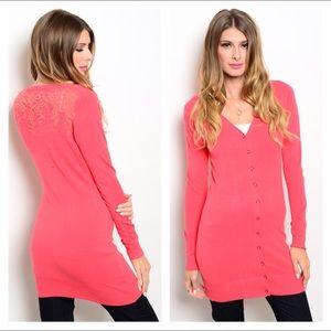Sweaters - NWT coral lace yoke long cardigan