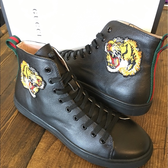 7809dd1f048 Gucci Other - Gucci leather high top with tiger size 10 with box