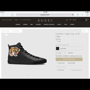 358b9d63140 Gucci Shoes - Gucci leather high top with tiger size 10 with box
