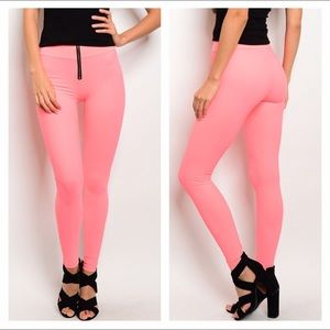 Pants - NEW Small coral zip up leggings