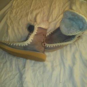 Ed hardy hard sole slipper/snow boots.never worn
