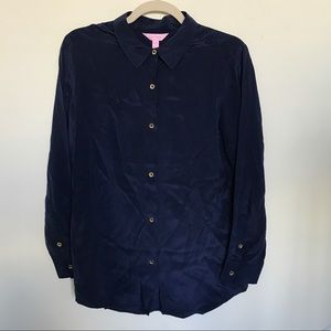 Lilly Pulitzer 100% Silk Button Down Blouse