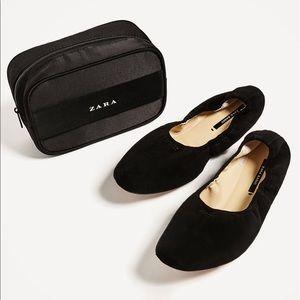 Zara foldable soft leather ballerinas