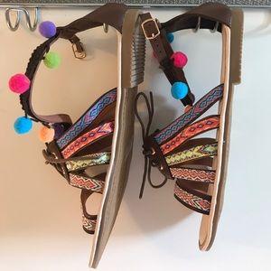 Brown Poms Sandals