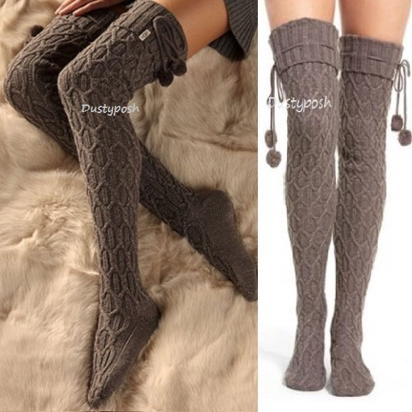 527771cac UGG Accessories | Thigh High Over The Knee Socks Sparkle Pom Pom ...