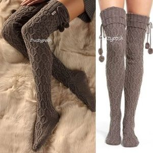 UGG Thigh High Over The Knee Socks Sparkle Pom Pom