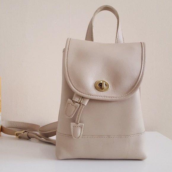 68b4fe95a6c62 Coach Bags   Vintage 9960 Cream Leather Small Backpack   Poshmark