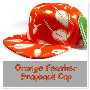 Orange Feather Snapback Cap