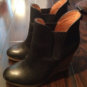 Coach leather wedge boots