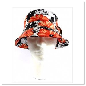 Orange and White Floral Bucket Hat