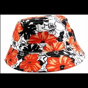 Boutique Accessories - Orange and White Floral Bucket Hat
