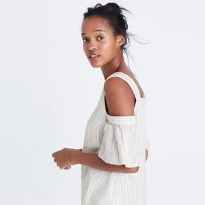 🎀NEW🎀MADEWELL Striped Cold-Shoulder Dress
