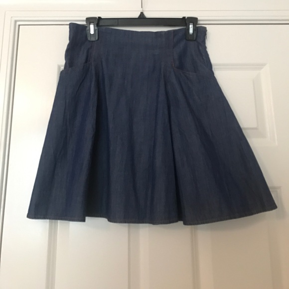 strong packing later cute Urban Outfitters Fit and Flare Denim Skirt NWT