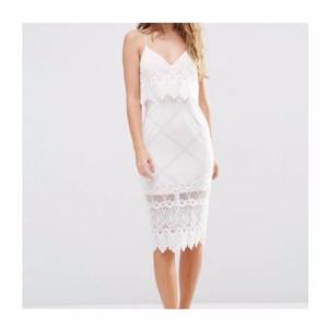 ASOS Lace Scallop Crop Pencil Dress size Medium 8