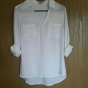 Express white Portofino button up blouse