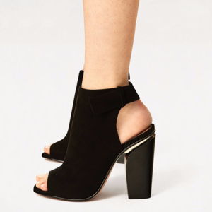 Zara Black Leather Ankle Boots with Gold Detail