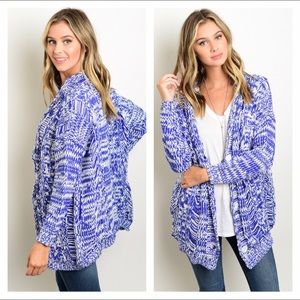 Sweaters - NWT M/L royal blue & white oversized knit cardigan