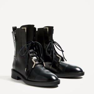Zara Black Leather Combat Ankle Boots